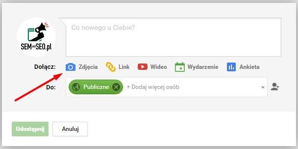 jak dodać zdjęcie do postu w Google Plus