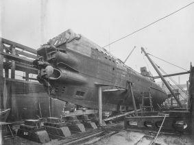 U Boat alemán 1918. UB 110 en dique seco.