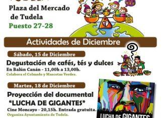 Cartel de actividades de diciembre en la tienda de comercio Justo de Tudela