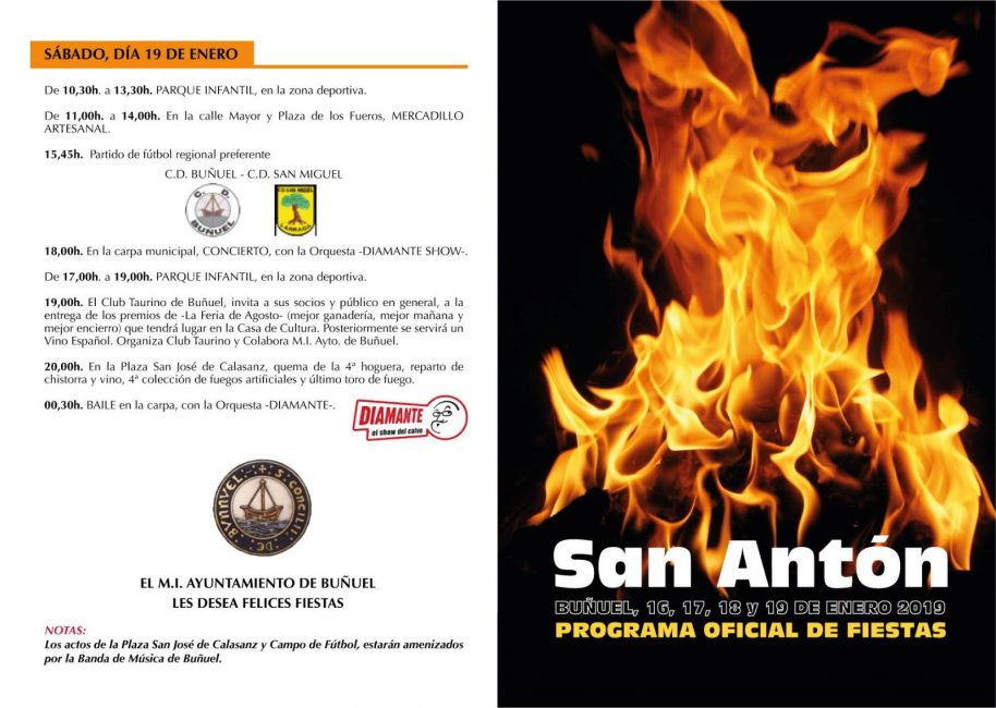 Cartel fiestas San Antón Buñuel 2019