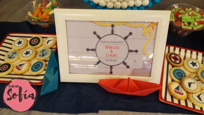 Detalle mesa de dulces en comunión Tudela