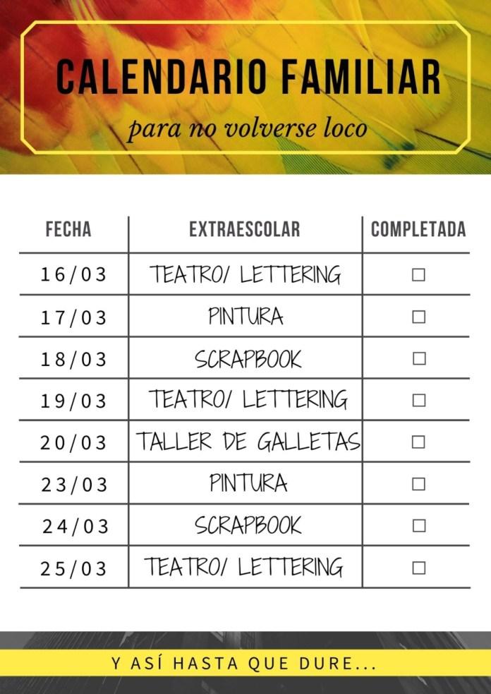 calendario cuarentena