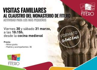Visita familiar al claustro del Monasterio de Fitero