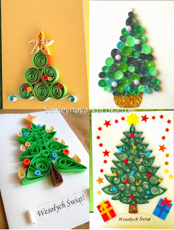 کارت پستال برای سال جدید با درخت کریسمس
