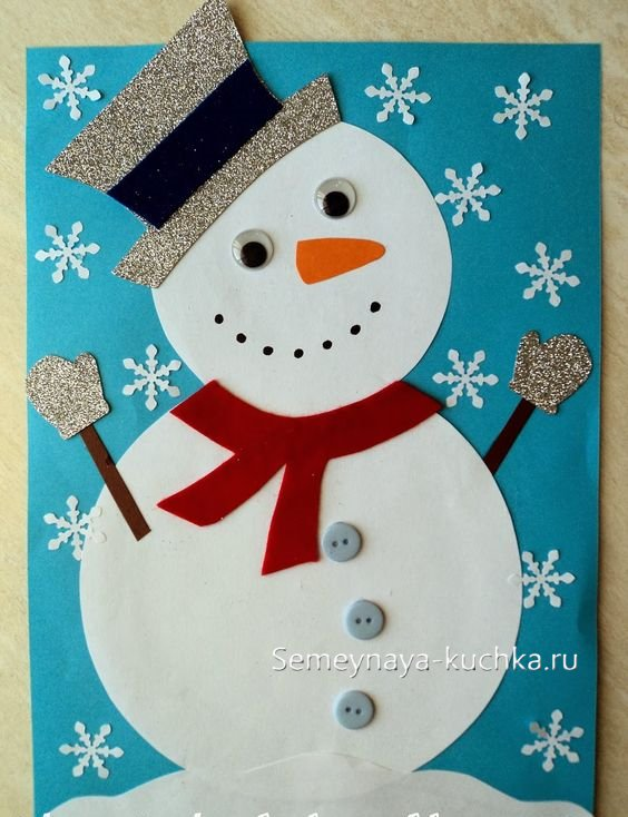 Snowman artizanat pentru noul an de la hârtie cu propriile mâini