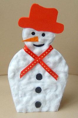 снеговик из бумаги и ваты детская поделка
