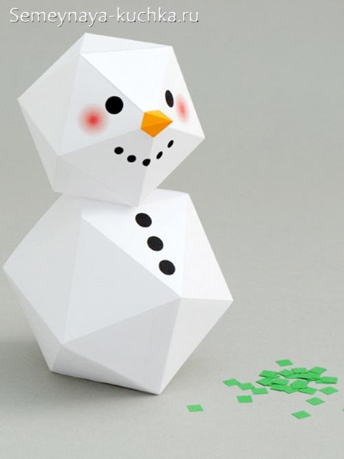 Снеговик өзін-өзі жасау үшін қағаздан жасалған