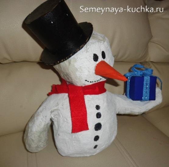 снеговик из газеты красивый своими руками