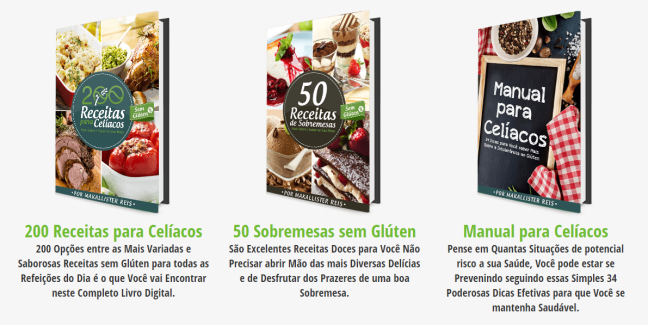 Livros 200 Receitas para Celíacos, 50 Sobremesas sem Glúten e Manual para Celíacos