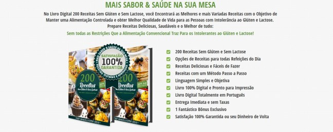 Benefícios Livro 200 Receitas sem Glúten sem Lactose