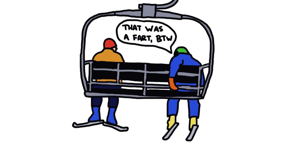 drawing of skiers on chairlift