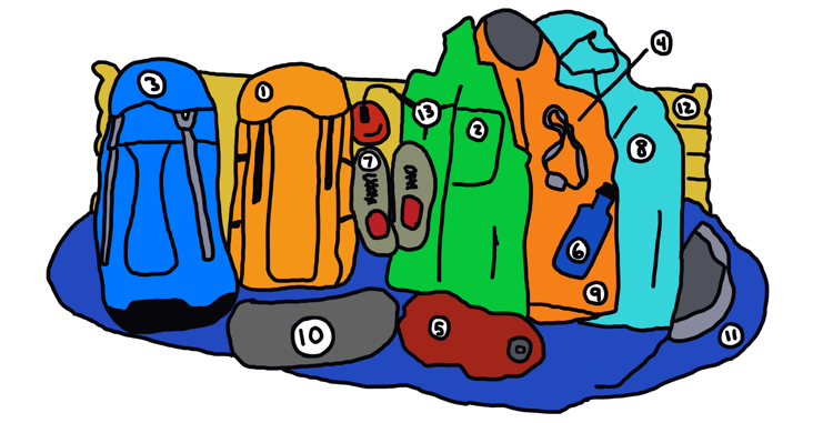 drawing of 13 pieces of outdoor gear for adventurers