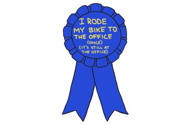 "drawing of a blue ribbon reading ""I rode my bike to the office (once) (it's still at the office)"""