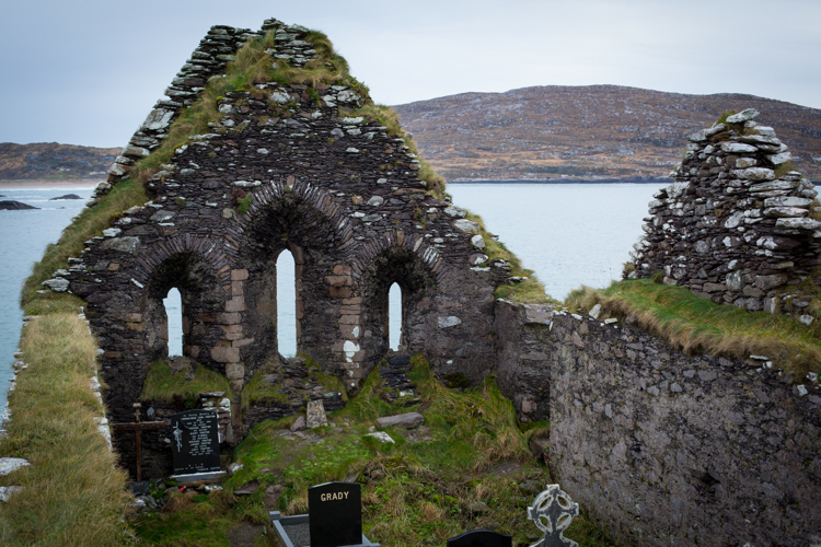 The cemetery has spilled over into the interior of the ruins of Derrynane Abbey, County Kerry.