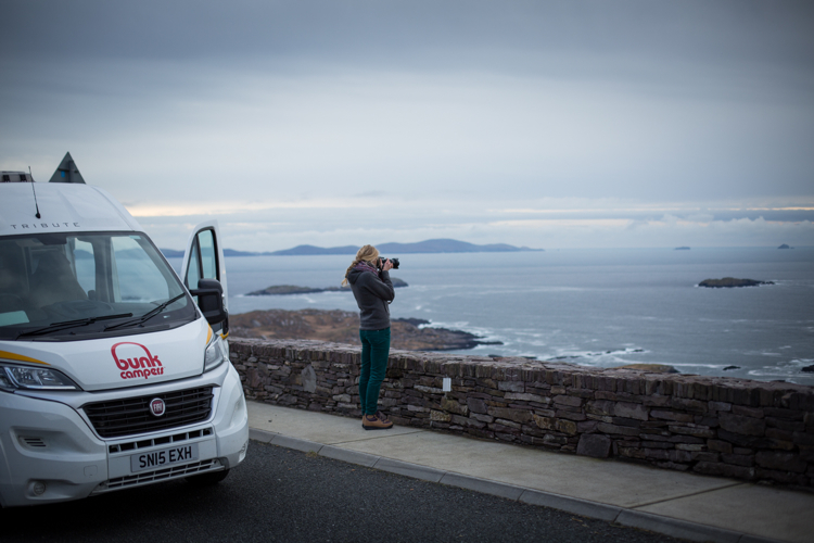 Hilary stops for a photo of the coast on the Ring of Kerry.