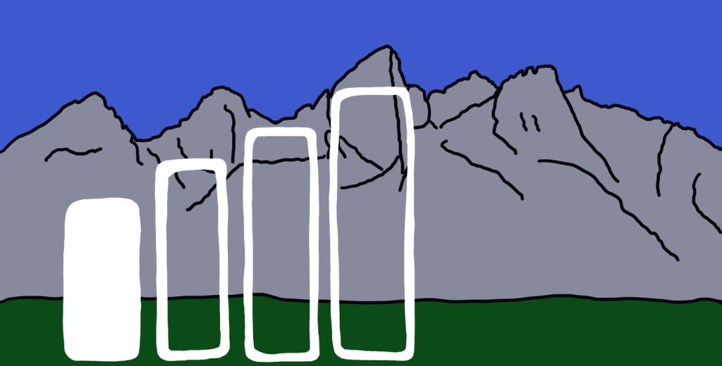 illustration of cell reception bars in front of mountains