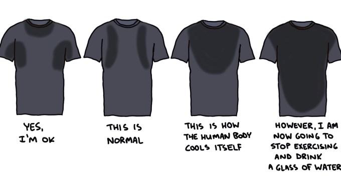 illustration of four sweaty shirts