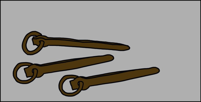 drawing of three old pitons