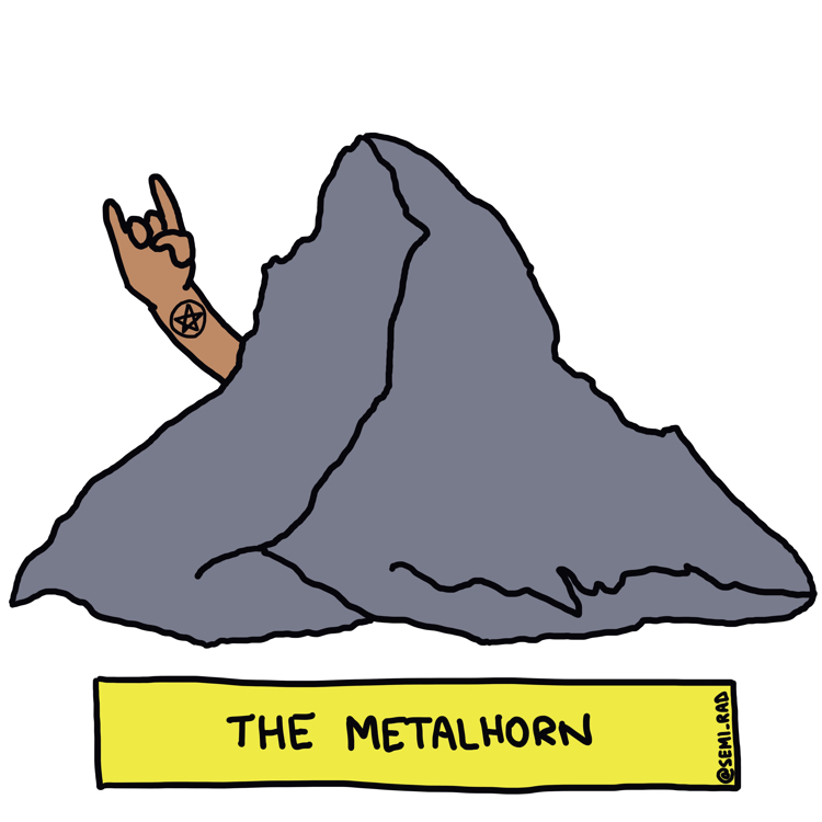 drawing of the matterhorn with a human hand throwing the horns