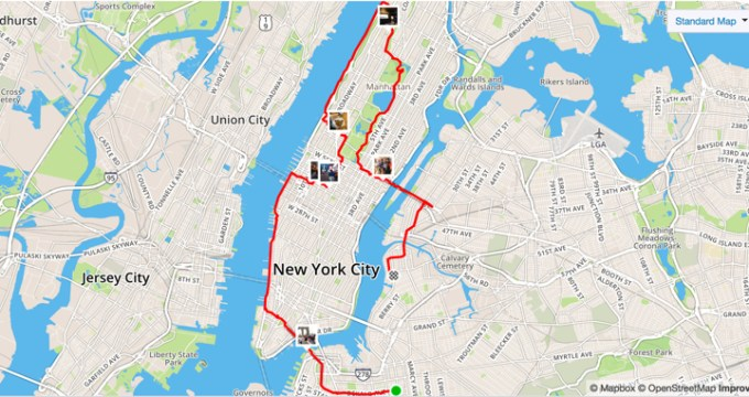 strava map of our new york pizza marathon route