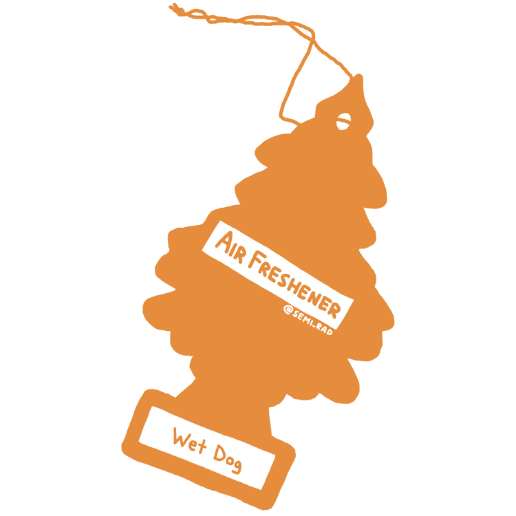 "drawing of a pine tree shaped air freshener reading ""wet dog"""