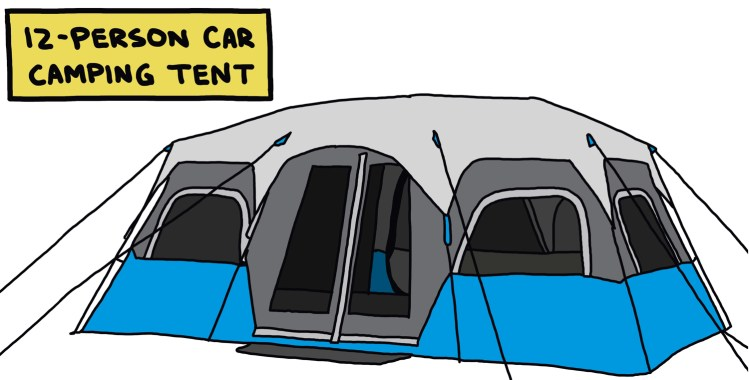 drawing of a 12-person car camping tent