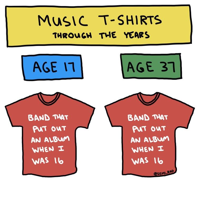 semi-rad drawing of band t-shirts