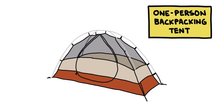 drawing of a one-person backpacking tent