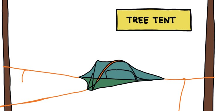 drawing of a tree tent