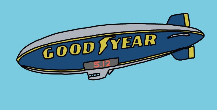 "drawing of the Goodyear blimp with ""5.12"" in lights"