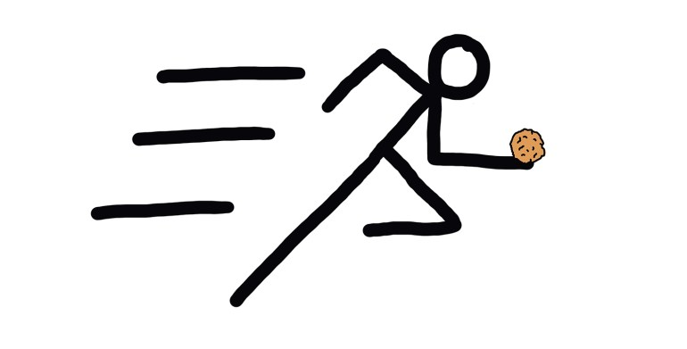 drawing of a runner carrying an apple fritter