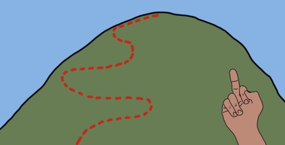 drawing of someone giving the finger to a hill