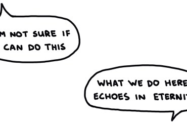 drawing of conversation balloons between climbers