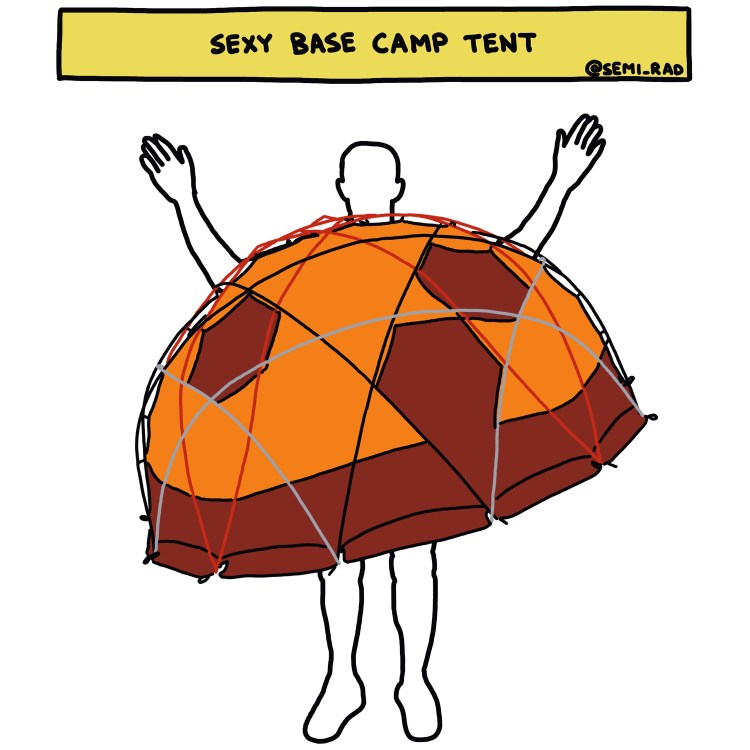 "drawing of ""Sexy Base Camp Tent"" costume"