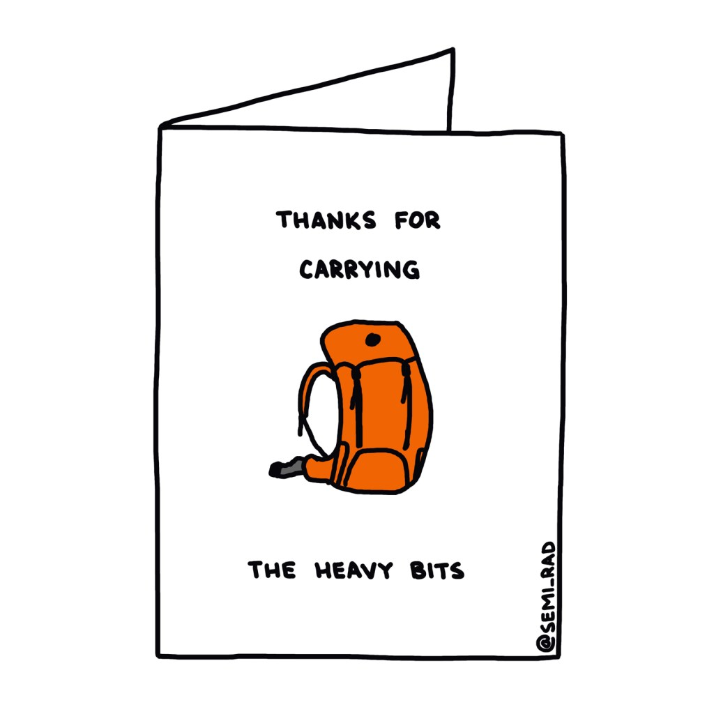 """Thanks For Carrying The Heavy Bits"" Thank You Card Semi-Rad"