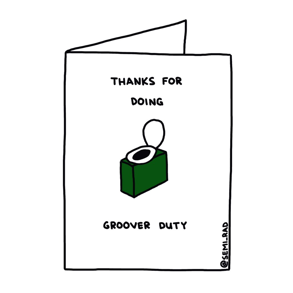 """Thanks for Doing Groover Duty"" Thank You Card Semi-Rad"