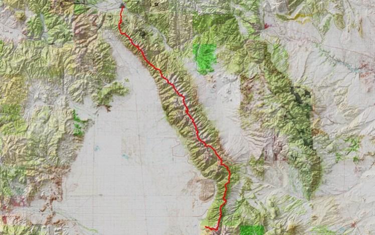 topo map of Jim Harris and Brendan Leonard's 2013 traverse of the Sangre de Cristo range