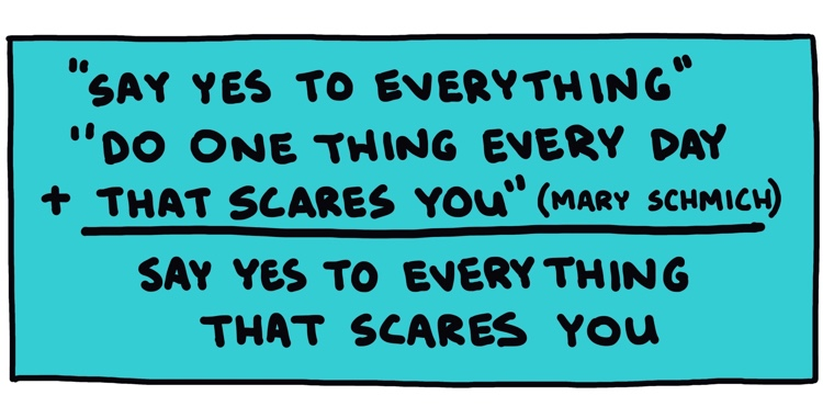 "drawing of equation resulting in ""say yes to everything that scares you"""