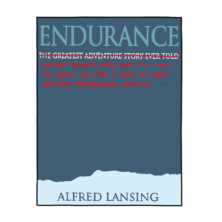 hand-drawn edited cover of Endurance by Alfred Lansing