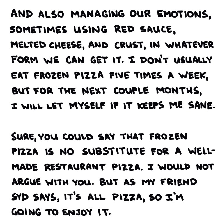handwritten text about managing our emotions using red sauce, melted cheese, and crust