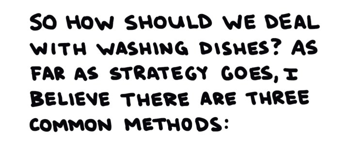 handwritten text about how we should deal with washing dishes
