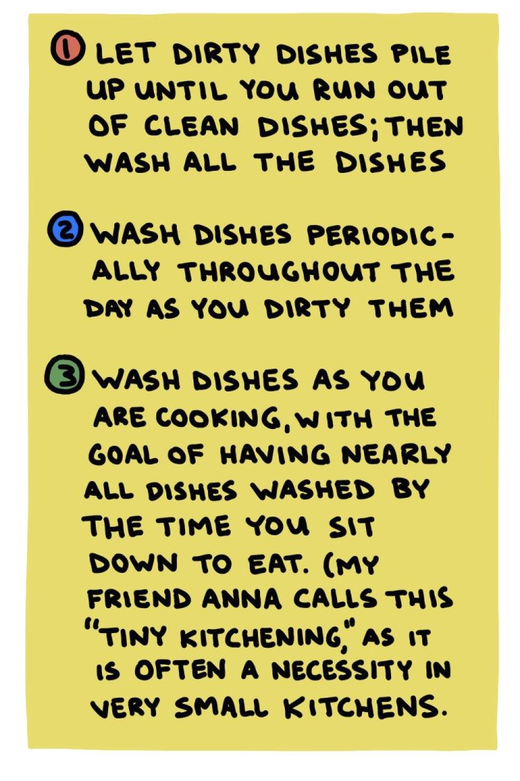 handwritten text about the three methods of washing dishes