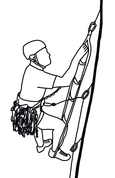 hand-drawn illustration of a climber leading an aid pitch
