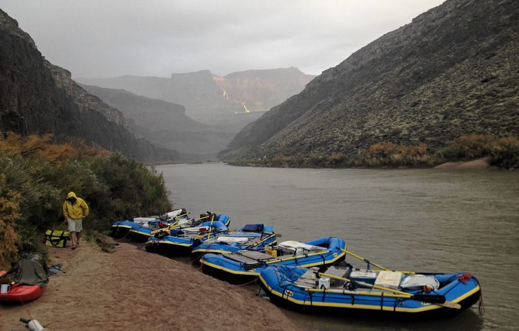 rafts tied up at a grand canyon river campsite