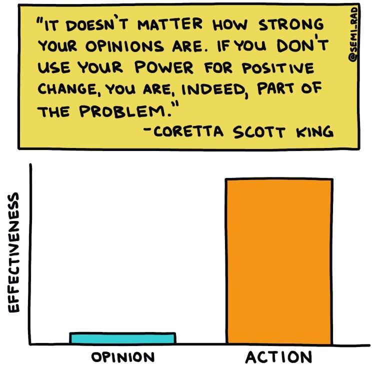 hand-drawn illustration of Coretta Scott King quote