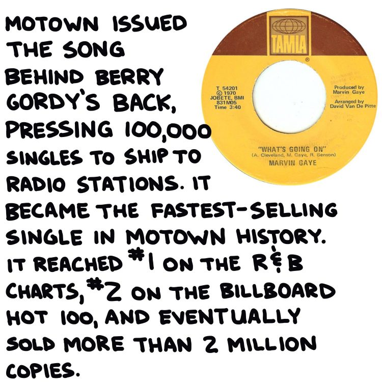 """handwritten text and 7-inch single of Marvin Gaye's """"What's Going On"""""""
