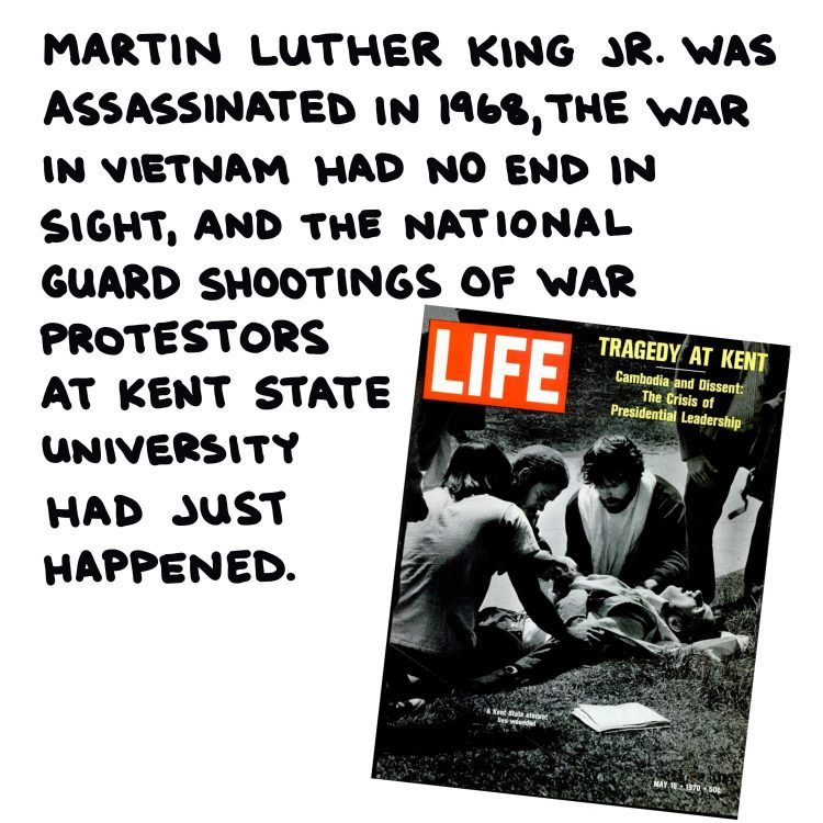 handwritten text and magazine cover showing Kent State Massacre