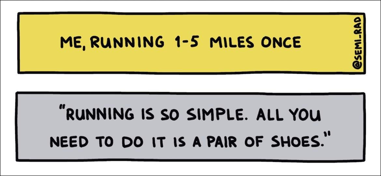 semi-rad handwritten text running is so simple 1-5 miles