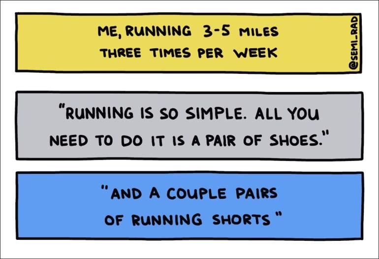 semi-rad handwritten text running is so simple 3-5 miles 3 times a week