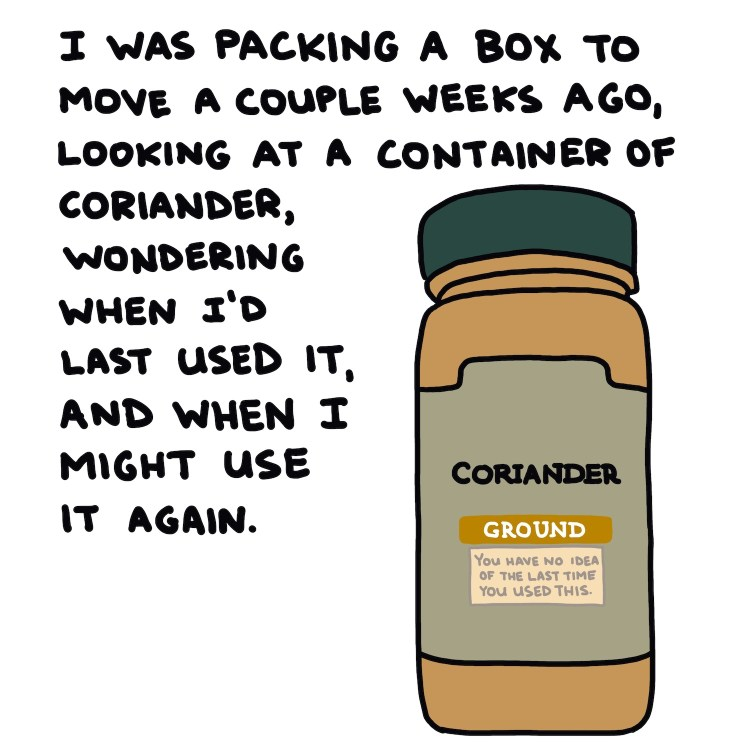 handwritten text and drawing of container of coriander